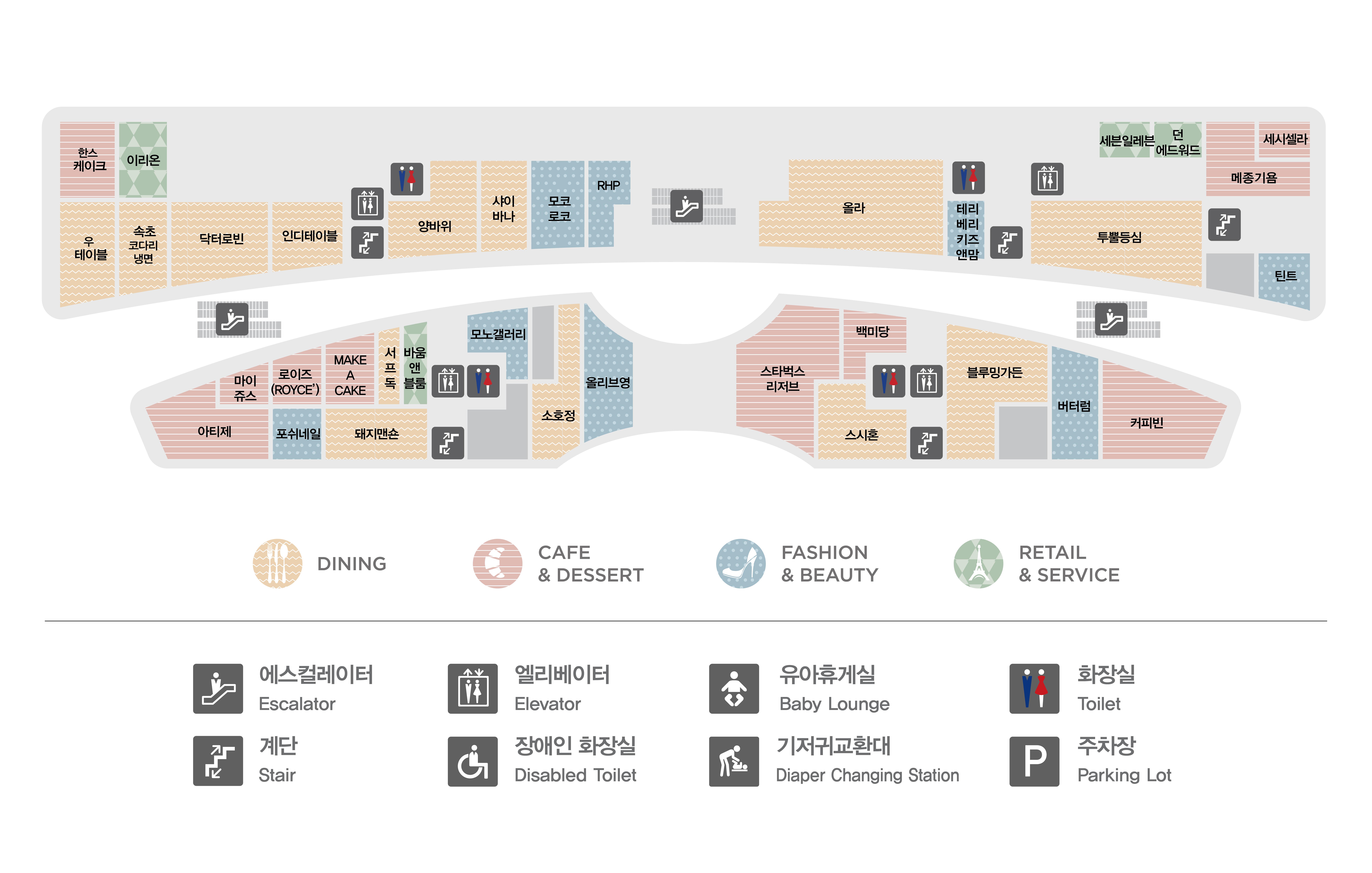 판교점 1층 매장 지도입니다. 1층에는 한스케이크(카페&디저트), 이리온(리테일&서비스), 우테이블(다이닝),속초코다리냉면(다이닝),닥터로빈(다이닝),인디테이블(다이닝),양바위(다이닝),샤이바나(다이닝),모코로코(패션&뷰티),RHP(패션&뷰티),올라(다이닝), 테리베리키즈앤맘(패션&뷰티), 세븐일레븐(리테일&서비스),던에드워드 페인트(리테일&서비스), 메종기욤(카페&디저트), 세시셀라(카페&디저트),투뿔등심(다이닝),틴트(패션&뷰티),마이쥬스(카페&디저트),로이즈 초콜릿(카페&디저트),메이크어케이크(카페&디저트),서프독(다이닝),바움앤블룸(리테일&서비스), 모노갤러리(패션&뷰티), 포쉬네일(패션&뷰티),돼지맨숀(다이닝),소호정(다이닝),올리브영(패션&뷰티),아티제(카페&디저트), 블루밍가든(다이닝), 버터럼(패션&뷰티), 커피빈(카페&디저트), 스시혼(다이닝), 스타벅스 리저즈(카페&디저트), 백미당(카페&디저트) 총 35개 매장이 입점해있습니다. 또한 화장실 총 4개, 에스컬레이터, 엘레베이터, 비상계단이 있습니다. 화장실과 엘레베이터는 양바위, 투뿔등심, 바움앤블룸, 제이헬렌 매장 옆에 있습니다.