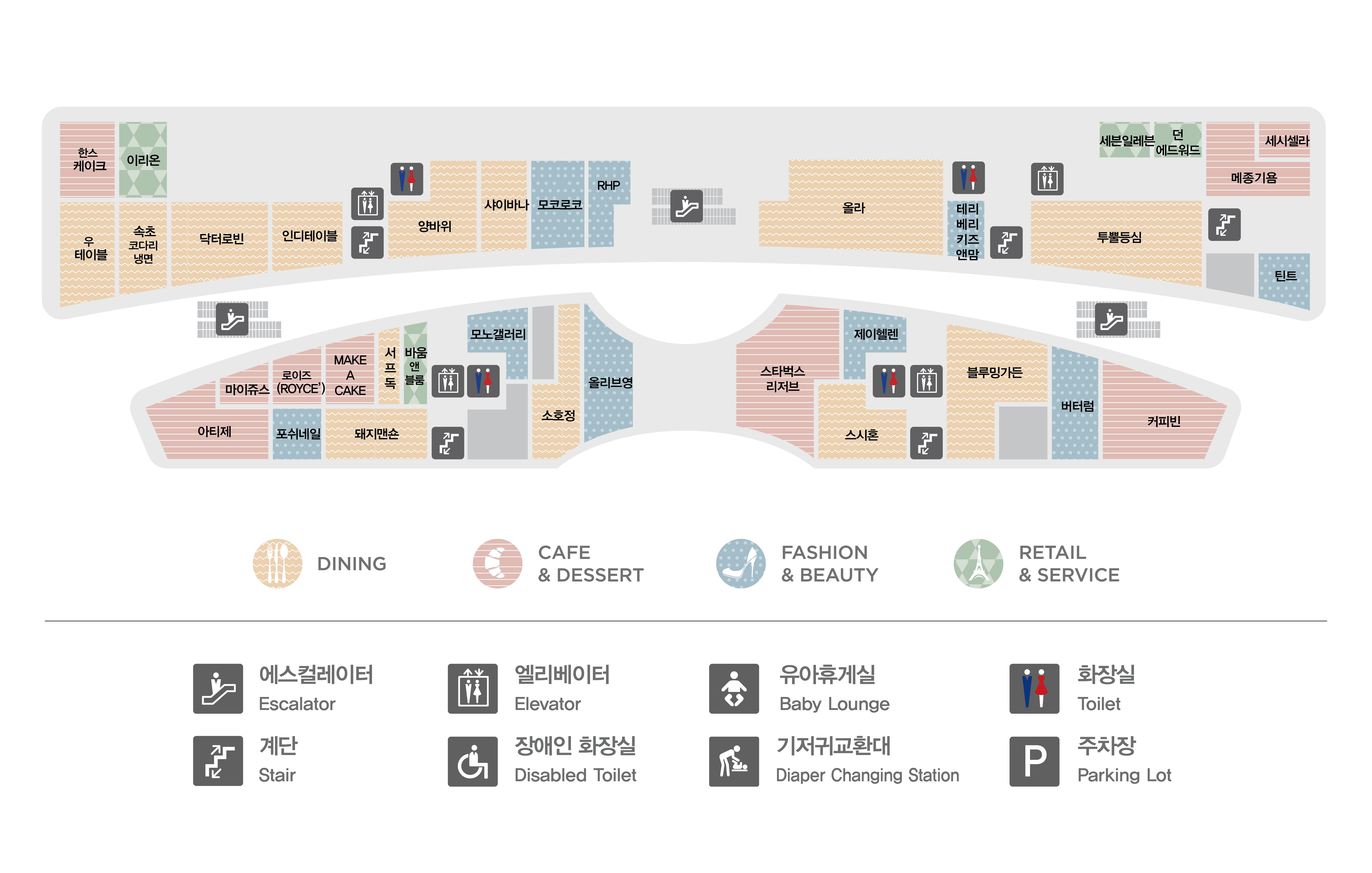 판교점 1층 매장 지도입니다. 1층에는 한스케이크(카페&디저트), 이리온(리테일&서비스), 우테이블(다이닝),속초코다리냉면(다이닝),닥터로빈(다이닝),인디테이블(다이닝),양바위(다이닝),샤이바나(다이닝),모코로코(패션&뷰티),RHP(패션&뷰티),올라(다이닝), 테리베리키즈앤맘(패션&뷰티), 세븐일레븐(리테일&서비스),던에드워드 페인트(리테일&서비스), 메종기욤(카페&디저트), 세시셀라(카페&디저트),투뿔등심(다이닝),틴트(패션&뷰티),마이쥬스(카페&디저트),로이즈 초콜릿(카페&디저트),메이크어케이크(카페&디저트),서프독(다이닝),바움앤블룸(리테일&서비스), 모노갤러리(패션&뷰티), 포쉬네일(패션&뷰티),돼지맨숀(다이닝),소호정(다이닝),올리브영(패션&뷰티),아티제(카페&디저트),제이헬렌(패션&뷰티), 블루밍가든(다이닝), 버터럼(패션&뷰티), 커피빈(카페&디저트), 스시혼(다이닝), 스타벅스 리저즈(카페&디저트) 총 35개 매장이 입점해있습니다. 또한 화장실 총 4개, 에스컬레이터, 엘레베이터, 비상계단이 있습니다. 화장실과 엘레베이터는 양바위, 투뿔등심, 바움앤블룸, 제이헬렌 매장 옆에 있습니다.