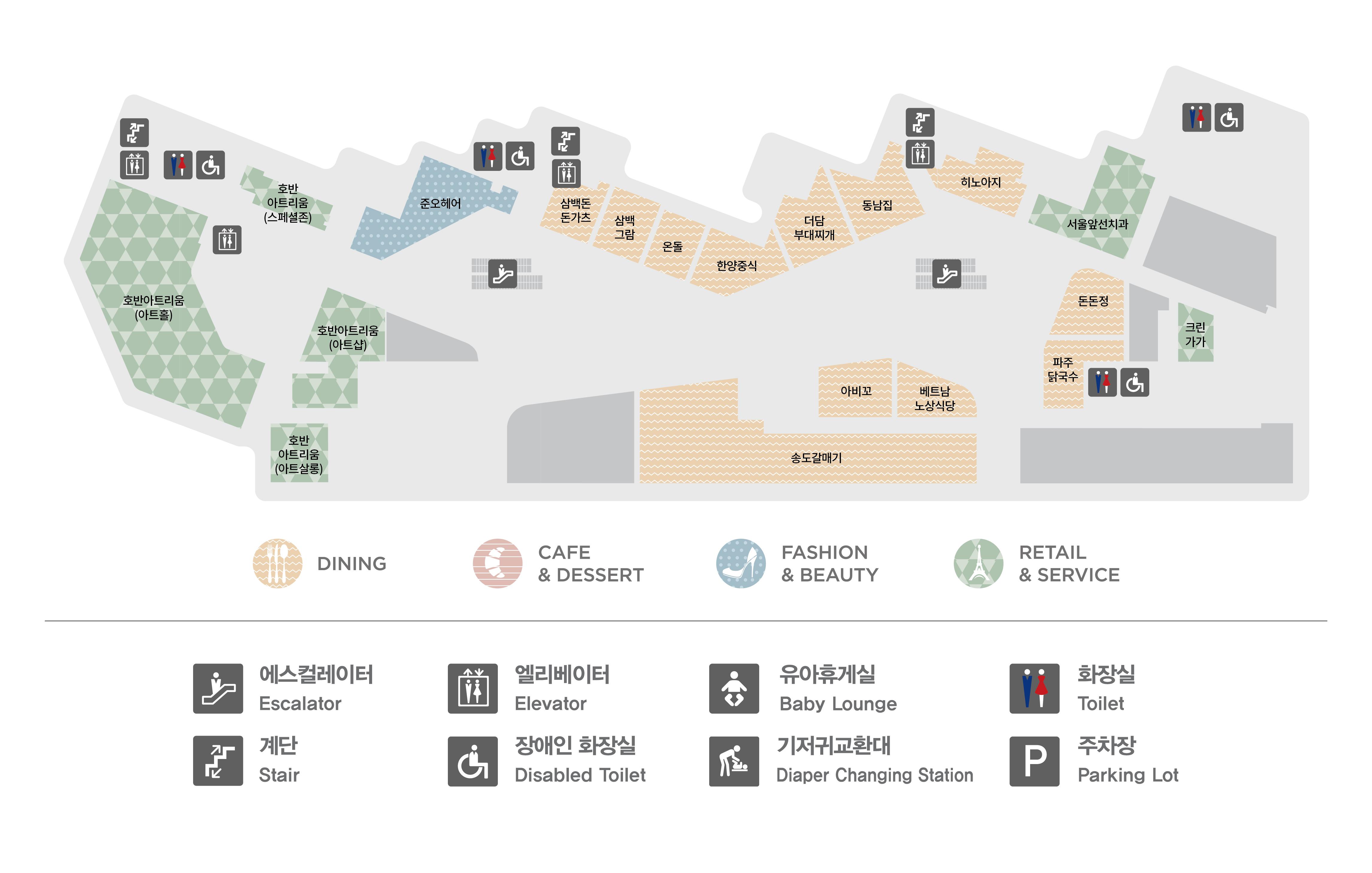 광명점 2층 매장 지도입니다. 1층에는 호반 아트리움(아트홀), 호반 아트리움(스페셜존), 준오헤어, 삼백돈돈카츠, 온돌, 한양중식, 서울 앞선치과, 호반아트리움(워크룸), 호반아트리움(아트살롱) 총 9개 매장이 입점해있습니다. 또한 화장실 총 4개, 에스컬레이터, 엘레베이터, 비상계단이 있습니다.