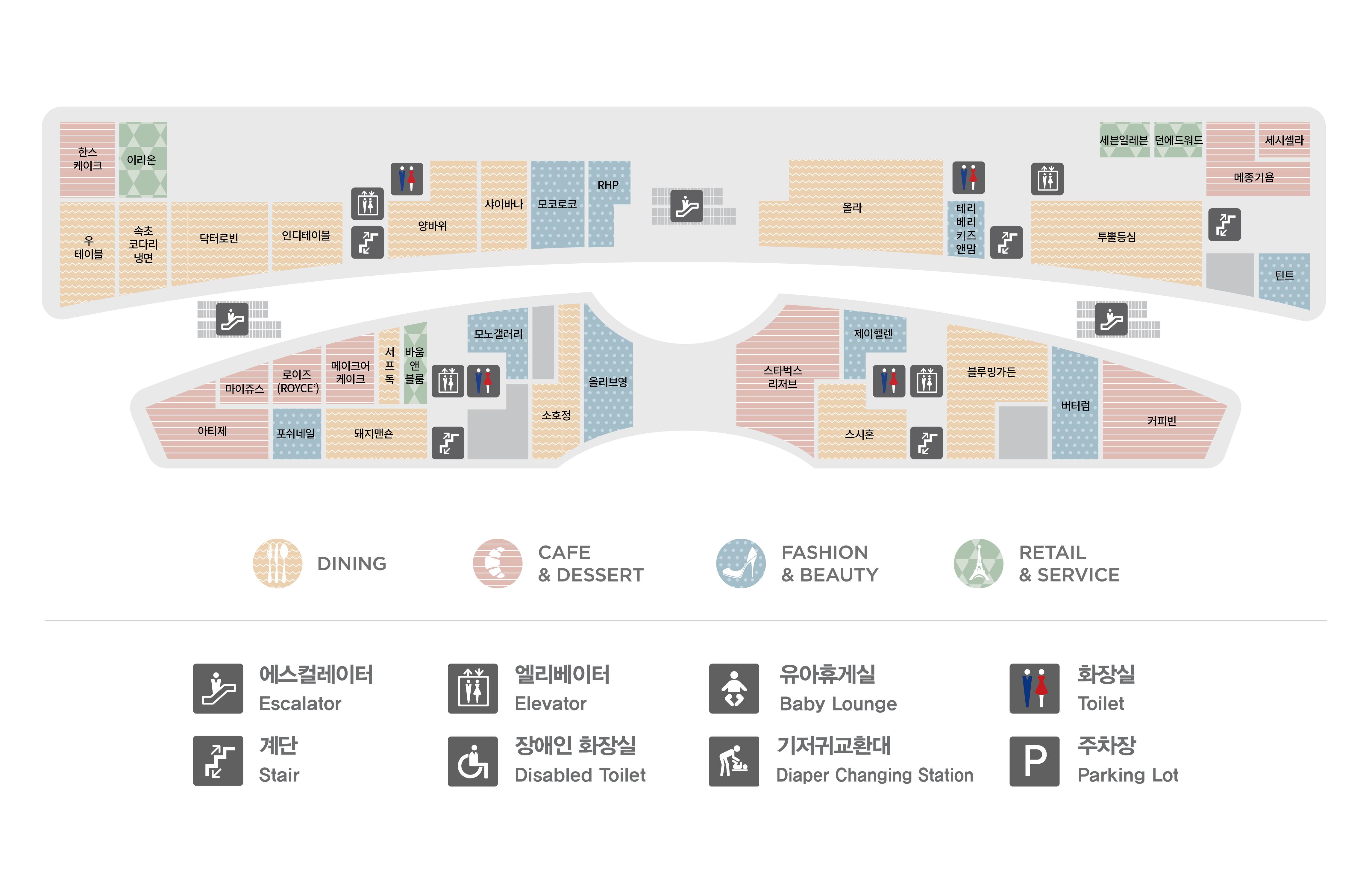 판교점 1층 매장 지도입니다. 1층에는 한스케이크, 이리온, 우테이블,속초코다리냉면,닥터로빈,인디테이블,양바위,샤이바나,모코로코,RHP,올라,세븐일레븐,덴에드워드,서프독,세시셀라,투뿔등심,메종드로프트,틴트,마이쥬스,로이즈,메이크어케이크,바움앤블룸,피콜리노,미스터라자냐,포쉬네일,돼지맨숀,타이틀리스트,소호정,올리브영, 아티제, 단얼음, 제이헬렌, 블루밍가든, 그랑마블, 버터럼, 커피빈 총 36개 매장이 입점해있습니다. 또한 화장실 총 4개, 에스컬레이터, 엘레베이터, 비상계단이 있습니다. 화장실과 엘레베이터는 양바위, 올라, 제이헬렌, 타이틀 리스트 매장 옆에 있습니다.