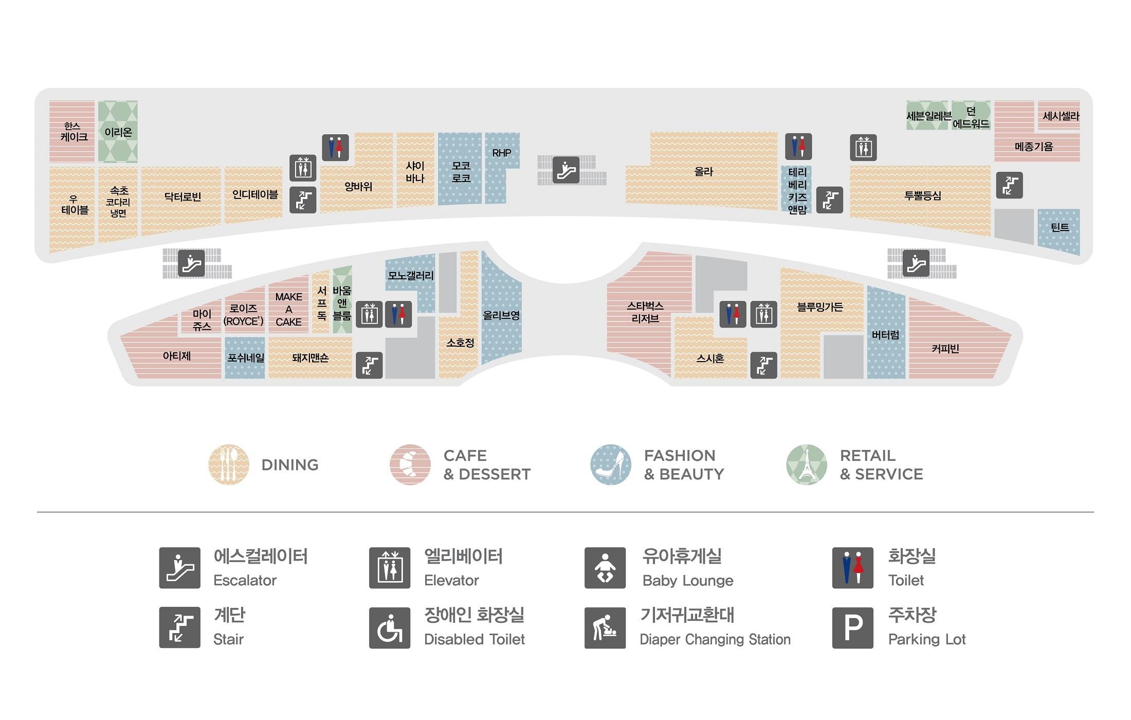 판교점 1층 매장 지도입니다. 1층에는 한스케이크(카페&디저트), 이리온(리테일&서비스), 우테이블(다이닝),속초코다리냉면(다이닝),닥터로빈(다이닝),인디테이블(다이닝),양바위(다이닝),샤이바나(다이닝),모코로코(패션&뷰티),RHP(패션&뷰티),올라(다이닝), 테리베리키즈앤맘(패션&뷰티), 세븐일레븐(리테일&서비스),던에드워드 페인트(리테일&서비스), 메종기욤(카페&디저트), 세시셀라(카페&디저트),투뿔등심(다이닝),틴트(패션&뷰티),마이쥬스(카페&디저트),로이즈 초콜릿(카페&디저트),메이크어케이크(카페&디저트),서프독(다이닝),바움앤블룸(리테일&서비스), 모노갤러리(패션&뷰티), 포쉬네일(패션&뷰티),돼지맨숀(다이닝),소호정(다이닝),올리브영(패션&뷰티),아티제(카페&디저트), 블루밍가든(다이닝), 버터럼(패션&뷰티), 커피빈(카페&디저트), 스시혼(다이닝), 스타벅스 리저즈(카페&디저트) 총 34개 매장이 입점해있습니다. 또한 화장실 총 4개, 에스컬레이터, 엘레베이터, 비상계단이 있습니다. 화장실과 엘레베이터는 양바위, 투뿔등심, 바움앤블룸, 제이헬렌 매장 옆에 있습니다.